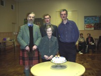 Morag with sons, Peter, Duncan and Gordon at her 80th birthday celebration