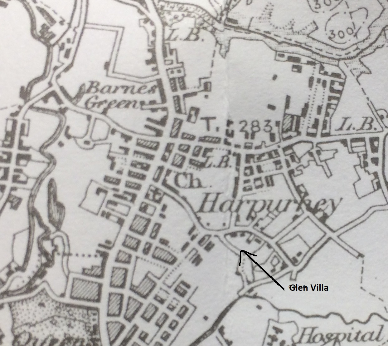 Harpurhey in 1896 from 1-inch OS map  - Alan Godrey sheet 85 and National Library of Scotland