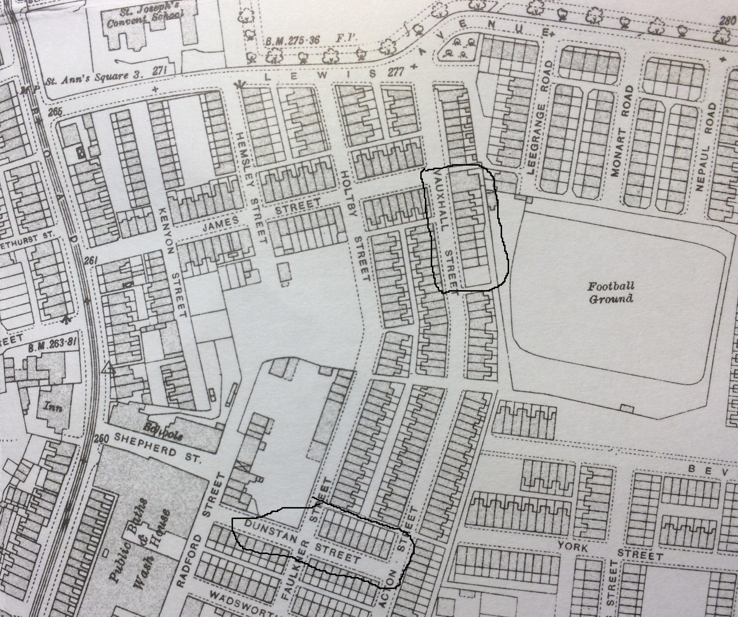 Blackley map in 1915  - Alan Godrey sheet 96-15 and National Library of Scotland