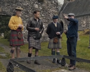 Peter, Sam, Donald and Graham at Rob Roy's grave with thanks to the STARZ production Men in Kilts