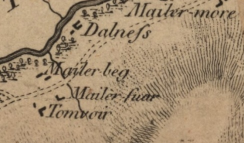 Stobie 1783 map showing Mailerbeg and Tomvoir